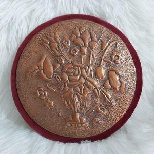 2 /$15 Vintage Copper Velvet Floral Wall Hanging